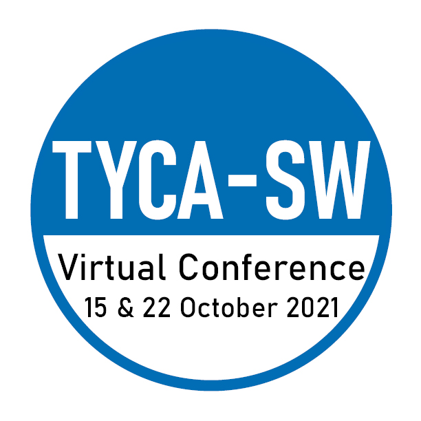 TYCA-SW Virtual Conference logo in a half blue circle with conference dates 15 and 22 October 2021.